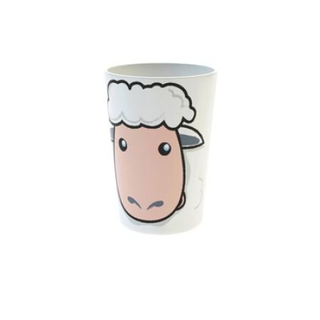 Becher mit Schaf als Motiv