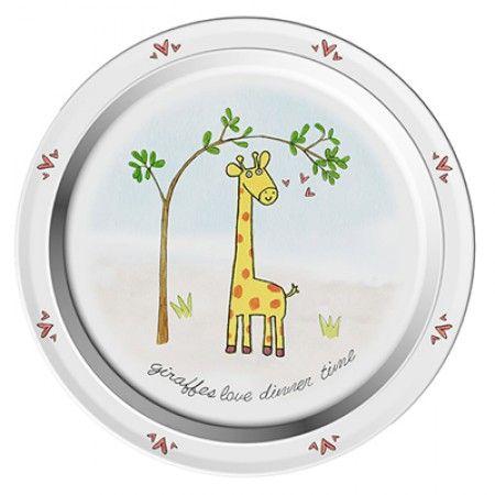 Teller mit Giraffe als Motiv