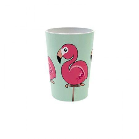 Becher mit Flamingo als Motiv